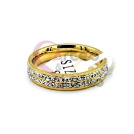 Anel Aço Inox Dupla Brilhantes - Dourado
