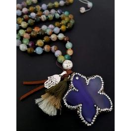 Colar Flor e Pedras Mix - Lilás e Verde