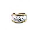 Anel Aço Inox Cristal - Dourado