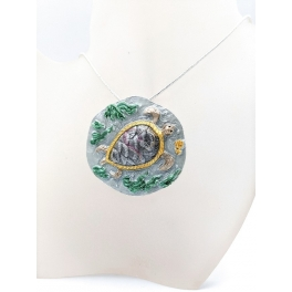 Fio Medalhão Tartaruga - Prateado
