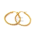 Brincos Aço Argolas Irregulares Bolinhas 32mm - Dourado
