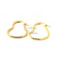 Brincos Aço Argolas Corações Trabalhados 25mm - Dourado