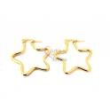 Brincos Aço Argolas Estrelas 30mm - Dourado
