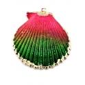 Pendente Concha Multicolorida - Rebordo Dourado (45x40mm)