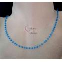 Fio Aço Inox Completo Cristais Azuis Claros - Prateado [45cm]