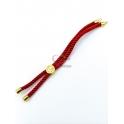 Base Pulseira Cordão Twist [Arvore da Vida] Vermelho - Dourado