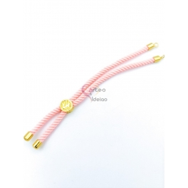 Base Pulseira Cordão Twist [Arvore da Vida] Rosa - Dourado