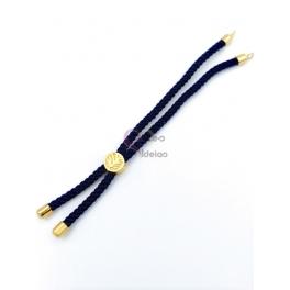 Base Pulseira Cordão Twist [Arvore da Vida] Azul - Dourado