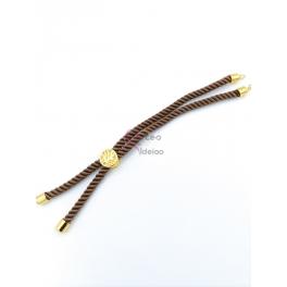 Base Pulseira Cordão Twist [Arvore da Vida] Castanho - Dourado