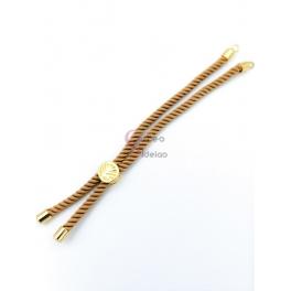 Base Pulseira Cordão Twist [Arvore da Vida] Creme - Dourado