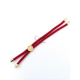 Base Pulseira Cordão Twist [Arvore da Vida] Fuchsia - Dourado