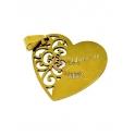 Pendente Aço Inox Coração Adoro-te Mãe - Dourado (30mm)