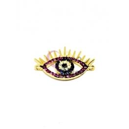 Conector Latão AQ Olho Turco Brilhantes Roxos - Dourado (14x21mm)