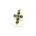 Pendente Madrepérola Lagrima Cruz Azul Celeste Subreposta - Dourado (25x20mm)