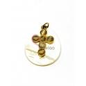 Pendente Madrepérola Lagrima Cruz Creme Sobreposta - Dourado (25x20mm)