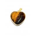 Pendente Aço Inox Coração em Pedra Olho Tigre - Dourado (27mm)
