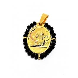 Pendente Aço Inox Anjo Botticelli Cristais Pretos - Dourado (26x21mm)