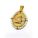Pendente Aço Inox Anjo Botticelli Mini Perolas - Dourado (26x21mm)