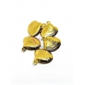 Conjunto Pendente Aço Inox Concha Ondulada - Dourado (14x13mm) - [5unds]
