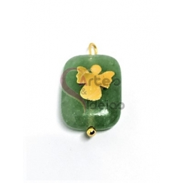Pendente Pedra Rectangulo Amazonite Anjo Sobreposto - Dourado (18x13mm)