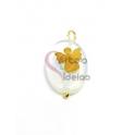 Pendente Pedra Oval Pedra Lua Anjo Sobreposto - Dourado (18x13mm)