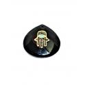 Pendente Pedra Lagrima Onix Mão Hamsá Colorida Sobreposta - Dourado (28mm)