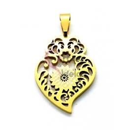 Pendente Aço Inox Coração de Viana Flor - Dourado (27x18mm)