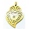 Pendente Aço Inox Coração de Viana Flor - Dourado (52x36mm)