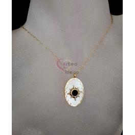 Fio Aço Inox Medalha Oval Madrepérola Star Preto - Dourado