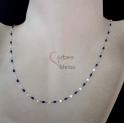 Fio Aço Inox Completo Missanga Azul Escura - Prateado [50cm]