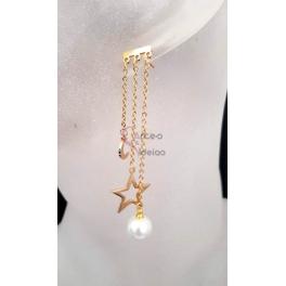 Brincos Aço Compridos Lua Estrela e Pérola - Dourados