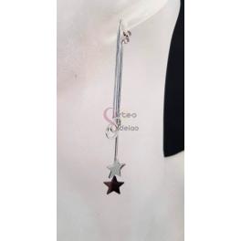 Brincos Aço Compridos Aros e Estrelas - Prateados