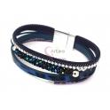 Pulseira Cabedais com Tubo Brilhante - Azul Escura