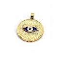 Pendente Latão Redondo Olho Grego Azul - Dourado (20mm)
