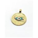 Pendente Latão Redondo Olho Grego Azul Claro - Dourado (20mm)