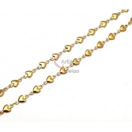 Corrente Aço Inox Corações - Dourado [1metro]