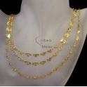 Fio Aço Inox Efeito 3 Voltas Malha Corações Floridos - Dourado