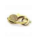 Fecho Mosquetão Medio AQ Zircónias - Dourado (25x15mm)