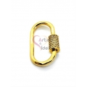 Fecho Rosca Oval AQ Zircónias - Dourado (28x16mm)