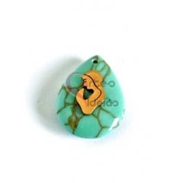 Pendente Pedra Lagrima Howlita Turquesa Nossa Senhora Sobreposta - Dourado (23x17mm)