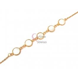 Pulseira Aço Inox Madrepérolas - Dourado