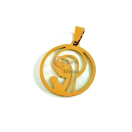 Pendente Aço Inox Nossa Senhora Madreperola - Dourado (25mm)