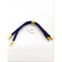 Base Pulseira Cordão Twist [Bolinha] Azul Escuro - Dourado