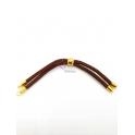 Base Pulseira Cordão Twist [Bolinha] Castanho - Dourado