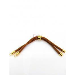 Base Pulseira Cordão Twist [Bolinha] Castanho Terra - Dourado