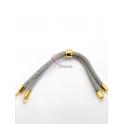 Base Pulseira Cordão Twist [Bolinha] Cinza Claro - Dourado