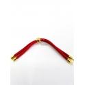 Base Pulseira Cordão Twist [Bolinha] Vermelho - Dourado