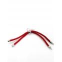 Base Pulseira Cordão Twist [Bolinha] Vermelho - Prateado