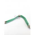 Base Pulseira Cordão Twist [Bolinha] Verde Claro - Prateado