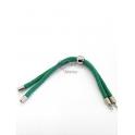 Base Pulseira Cordão Twist [Bolinha] Verde Seco - Prateado